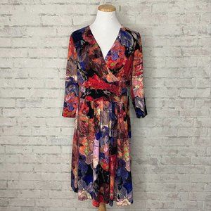 Adrianna Papell   Floral Jersey Fit & Flare Dress